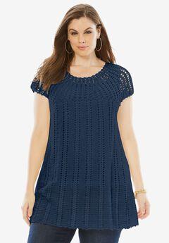 Hand-Crochet Sweater with Scalloped Hem, NAVY, hi-res