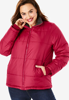Short Puffer Jacket, CLASSIC RED