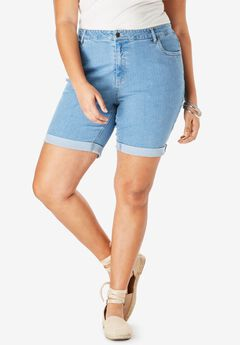 Cuff Denim Shorts with Invisible Stretch® Waistband by Denim 24/7®,
