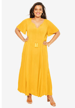 Crinkle Flare-Sleeve Maxi Dress, SUNSET YELLOW