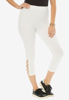 Stretch Crop Lattice Legging, WHITE