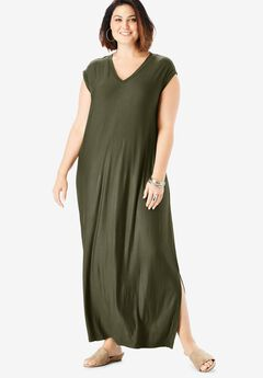 Side-Slit T-Shirt Dress, DARK OLIVE GREEN
