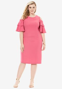 Flounce Sleeve Sheath, PASSION PINK, hi-res