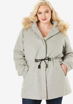 Wool Anorak Puffer Coat,