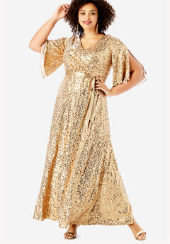 Sequin Gown with Satin Belt,