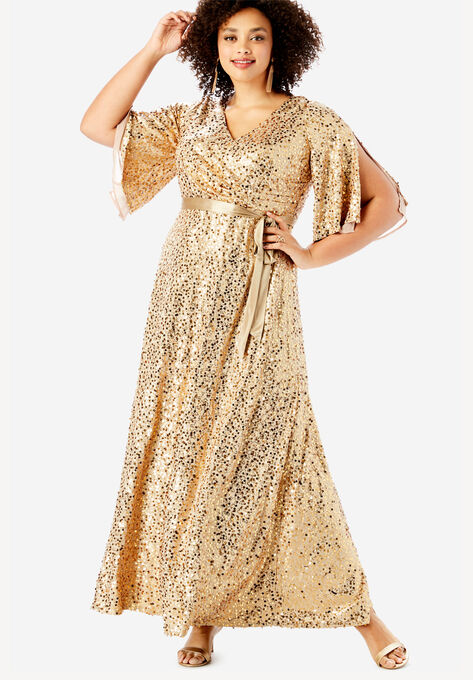 Sequin Gown with Satin Belt
