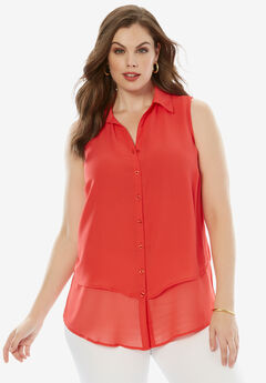 Felicity Sleeveless Shirt, CORAL RED, hi-res