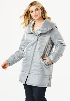 Shawl Collar Puffer Coat,