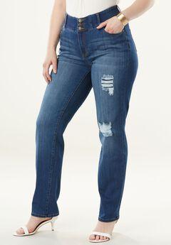 The Curvy Straight-Leg Jean by Denim 24/7®, DISTRESSED