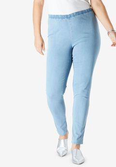 Skinny Pull-On Stretch Jean by Denim 24/7®, LIGHT STONEWASH SANDED