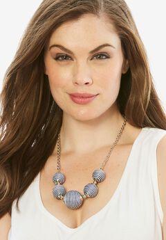 Color Ball Necklace, NAVY STRIPE, hi-res