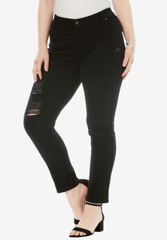 Distressed Jeans by Denim 24/7®, BLACK