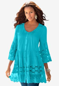 Illusion Lace Big Shirt, VIBRANT TURQ