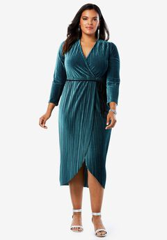 Velvet Faux Wrap Dress with Tassel Tie,
