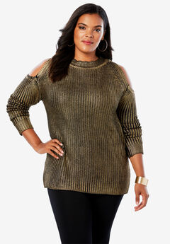 Cold-Shoulder Sweater with Foil Print,