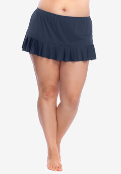 Mid-Rise Pleated Swim Skirt by 24th&Ocean, NAVY