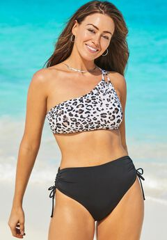 Virtuoso One Shoulder Bikini Set with Ruched Side Tie Brief,