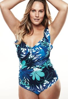 One-Piece Swimsuit With Adjustable Straps, FLORAL, hi-res