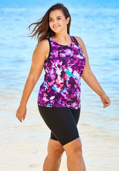Racerback Tankini Top with Shelf Bra,