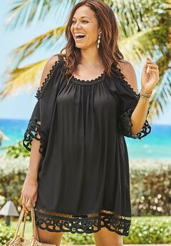 Vera Crochet Cold Shoulder Cover Up Dress,