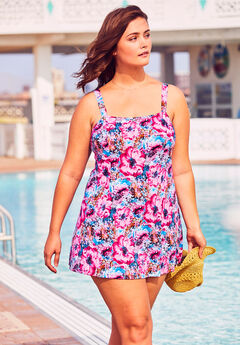 Princess-Seam Swim Dress, PATCHWORK FLOWERS