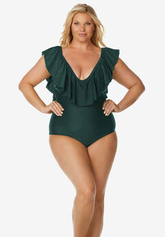 Ruffle-Neck Swimsuit by Raisins Curve,