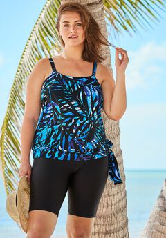 Blouson Tankini Top with Adjustable Straps,