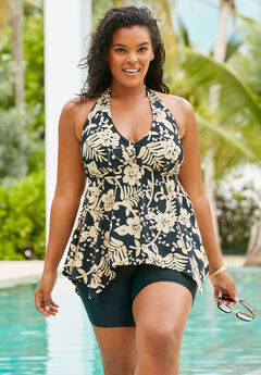 Flared Tankini Top with Bust Support, GOLD FLORAL