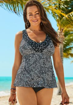 V-Neck Trim Tankini Set,