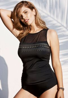 High-Neck Studded Swimsuit, BLACK, hi-res