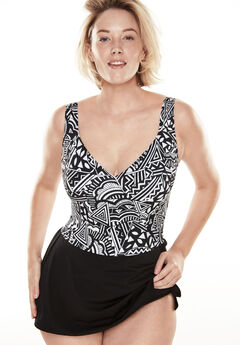 Mock surplice swimdress by Longitude®,