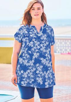 Short-Sleeve Swim Tunic, BLUE STENCIL LEAF PRINT