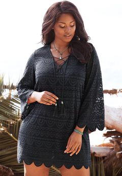 Lace Tassel Coverup, BLACK