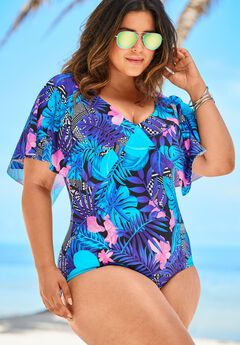 Flutter-Sleeve One-Piece with Sewn-In Bra,