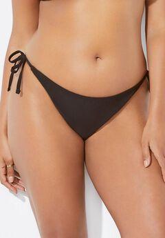 Ashley Graham String Bikini Bottom, BLACK
