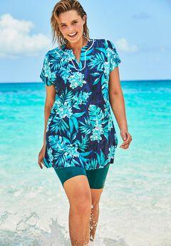 Short-Sleeve Swim Tunic, BLUE ISLAND FLORALS