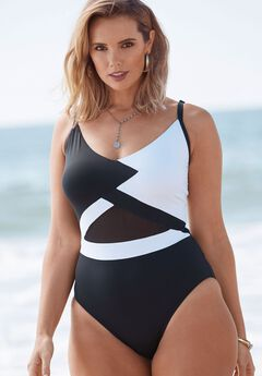 V-Neck Swimsuit, BLACK WHITE, hi-res