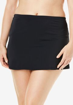 Side-Slit Swim Skirt with Built-in Brief, BLACK, hi-res