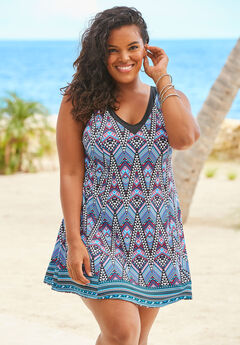 V-Neck Swimdress with Tummy Control,