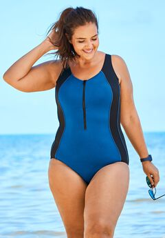 Zip-Front Swimsuit,