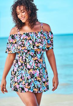 Off-The-Shoulder Flounce Swim Dress by Fit 4 U®,