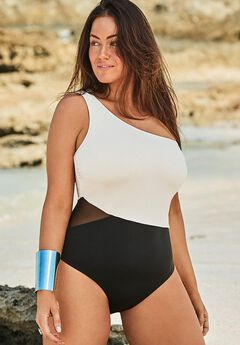 One Shoulder One Piece Swimsuit,