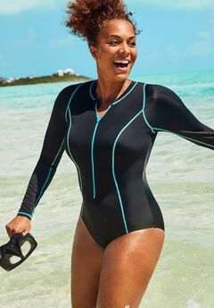 Zip Front High Neck One Piece Swimsuit,