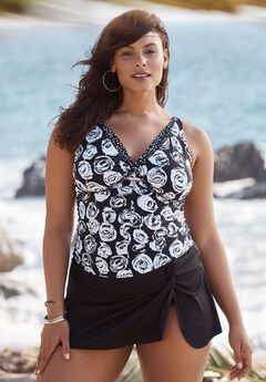 Tie-Back Tankini Top by Anne Cole, BLACK WHITE ROSES, hi-res