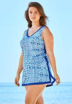 2-Piece Swim Skirtini Set, BLUE PATCHWORK