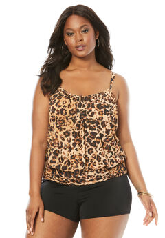 Blouson Tankini Top with Shirring, LEOPARD