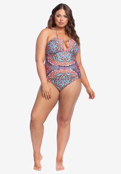High-Neck Halter One-Piece by Kenneth Cole Reaction,