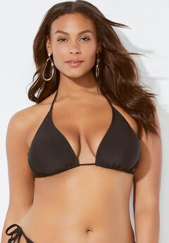 Ashley Graham String Bikini Top, BLACK