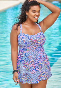 Twist-Front Swim Dress, DREAM BLUE PAISLEY
