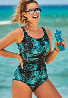 Chlorine Resistant Spliced Tank One Piece Swimsuit,